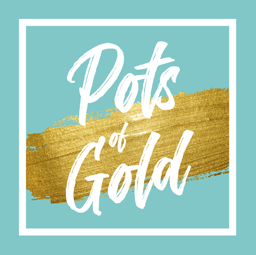 Pots of Gold Icon with Blue Background and Gold Ribbon