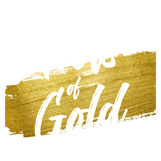 Pots of gold Font with Gold Ribbon